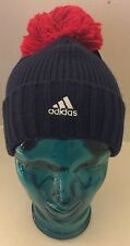 New Adidas Work Cup Hockey 2016 Blue Red Pom Beanie Cable Knit Toque Bonnet Men