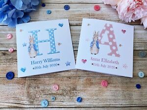 Personalised Peter Rabbit Card. New Baby Boy/Girl. Newborn Announcement Card