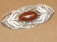 "VTG Antique Victorian Sterling Silver Filigree Floral & Goldstone Pin Brooch 3"""