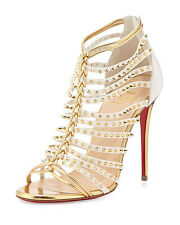 NEW $1495 Christian Louboutin Millaclou Studded Caged Sandal Heel Spike Gold 38