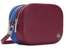 NWT TORY BURCH Robinson Pebbled Colorblock Double Zip Crossbody Red/Blue $275