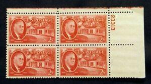 US Plate Blocks Stamps #944 ~1945 ROOSEVELT & LIGHT HOUSE 2c Plate Block MNH