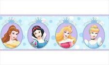 Disney Princesa Azul & Morado Cameo Cenefa Papel Pintado DF059303B