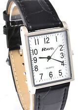 Ravel Ladies or Mens Classic Rectangular Dial Watch, Black Strap Silver Tone Cas
