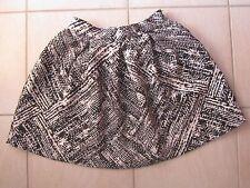 ZARA BASIC Black & White Print Pleated Skater Flare Skirt Size S