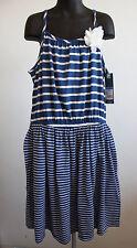 NWT OshKosh Genuine Kids Graphite Blue Sundress White Stripes Flower L 10/12