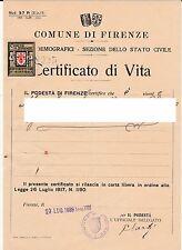 Antica marca amministrativa del Ventennio su documento di Firenze - 23/7/1939