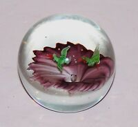LOVELY GEESE FLYING OVER PURPLE FLOWER ART GLASS PAPERWEIGHT