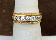 14K YELLOW GOLD CHANNEL SET DIAMONIQUE CUBIC ZIRCOIAN LADIES BAND RING SIZe 6