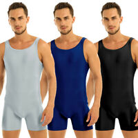 One Piece Men Bodysuit Singlet Wrestling Jumpsuit Dance Leotard Tank Unitards
