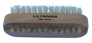 Lilywoods Wooden Nail Brush Double Sided Natural Bristles Bath Hand Care 10x4cm