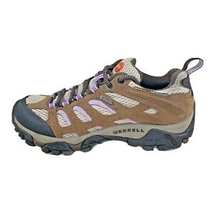 Merrell Moab Hiking Shoes Earth/Orchid Brown Waterproof Vibram Ortho Women 5.5