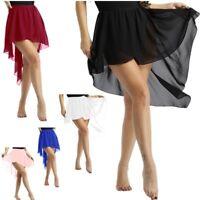 Womens Adult Ballet Chiffon Skirt Sports Gymnastics Skate Dress Dance Costume