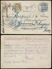GERMANY 1905 STATIONERY CARD POSTAGE DUE SWITZERLAND on REDIRECTION