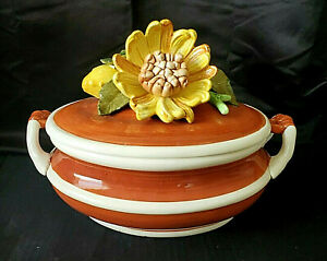 VINTAGE ARNART 5TH AVENUE - HARVEST COLLECTION - YELLOW PEONIES (?) SOUP TUREEN