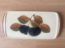 Wächtersbach rechteckige Kuchenplatte blau Apfel Pflaume beige