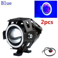 2Pcs Blue U7 Angel Eyes Light 125W Motorcycle Headlight LED Fog Spotlight+Switch