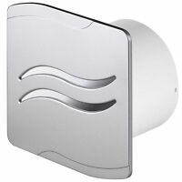 """Bathroom Extractor Fan 100mm/4"""" Timer Pullcord Humidity Silver SS"""