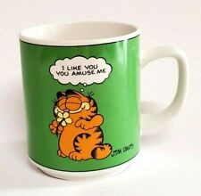 Vintage Garfield Mug Coffee Cup I Like You Green Enesco Ceramic 1978