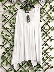 New ladies Lagenlook White Vest Tunic Top size 16 - 18