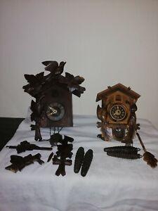 2 Vintage German Cuckoo Clocks With  Weights & Pendulums, Parts or Restoration.