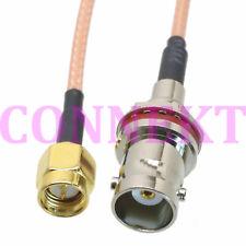 BNC female bulkhead round to SMA male plug crimp RG316 cable pigtail 50cm