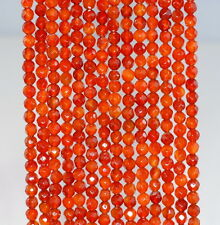 4MM  CARNELIAN RED AGATE GEMSTONE RED FACETED ROUND LOOSE BEADS 15""