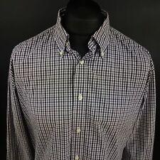 Tommy Hilfiger Mens 2 Ply Shirt XL Long Sleeve Purple Regular Fit Check Gingham