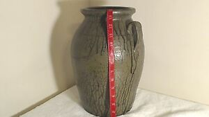 "Folk Art Pottery Signed Matthew Hewell 2 Gallon 14"" Churn Jug"