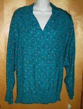 NEW womens ladies size 2X 20/22W teal green black khaki KORET l/s shirt blouse