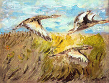 """""""GEESE FLYING"""" by Ruth Freeman MIXED MEDIA  ON WATERCOLOR PAPER 8"""" X 10"""""""