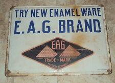 Vintage E.A.G. Brand Enamel Ware German Porcelain Sign 1940 Rare Collectible