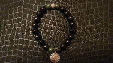 Celtic Knot Black Onyx Green Gemstone Bracelet Chrome Baby King Hearts