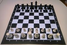 Black Tournament Chess SET 2 extra Queens Vinyl Board NEW