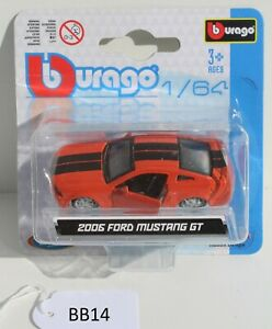 Bburago 1:64 2006 Ford Mustang GT Orange 18-59024 FNQHotwheels BB14