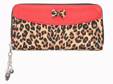 Banned Apparel 50s Rockabilly Leo Brown Leopard Animal Spot Bow Wallet Purse Red