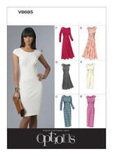 englisches Schnittmuster Vogue 8685 schmeichelndes Damenkleid Gr AA 6-12 (32-38)