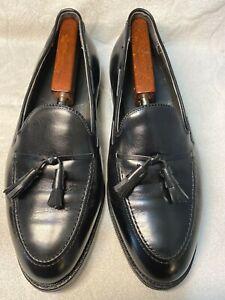 E.T. Wright Dress Slip On Apron Toe Tassel Black Leather Men's Size 9.5 EEE EUC