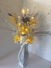 Artificial Silk Flower Arrangement In Cream Yellow Flowers Silver Vase Lights