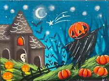 ACEO Original painting Halloween Spooky Haunted Art Horror Scarecrow Cemetery