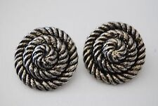 VINTAGE 1980'S LARGE BOLD COUTURE  SILVER TONED METAL ROPE STYLE CLIP EARRINGS