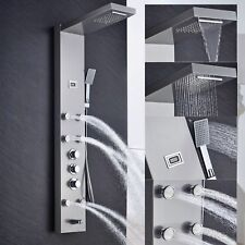 Thermostatic Nickel Waterfall Rain Shower Panel Body Jets Tub Spout Hand Shower