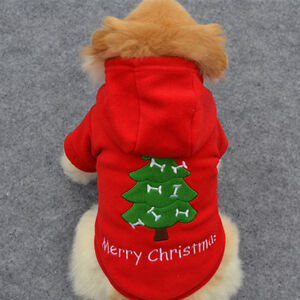 Pet Dogs Christmas Tree Clothes Puppy Cat Winter Warm Hoodie Coat Xmas Sweater