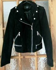 VERO MODA Black Real Suede Leather Biker Jacket Size:S - Chest: 32""