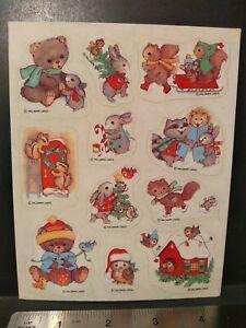 Vintage Hallmark Christmas Winter Animals Sticker Sheet RARE 80s