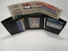 Soft Leather Trifold  Wallet With Coin Pocket, Back Zip, Business Card Space