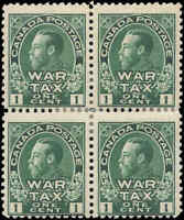 1915 Mint H Canada Block of 4 F Scott #MR1 1c War Tax Issue Stamps