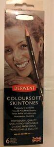 Derwent Coloursoft Skintones Pencils - Set of 6 with Sharpener - New