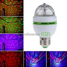3W E27 RGB LED Multi-Color DJ Stage Light Bulb Auto Rotating Crystal Disco Lamp#
