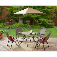 6 Pcs Sling Set Outdoor Patio Garden Yard Furniture Folding Chair Table Umbrella